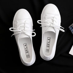 2018 new breathable white shoes women fresh hollow summer shoes Korean version of fashion casual fla white 35