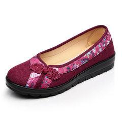 欣清2017春季新品女鞋 民族风平跟女单鞋 浅口老北京布鞋子代发 L123红色 35