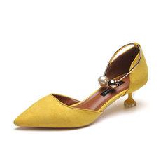 2018春季新款小清新高跟鞋女细跟浅口韩版百搭一字扣凉鞋女猫跟鞋 黄色 35