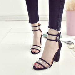 Size 34-43 custom-made large size women`s shoes new style flannelette thick heel hollow buckle sexy  black 34