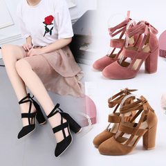 Wish Europe and the United States foreign trade large size women`s shoes coarse heel high heels with red 35