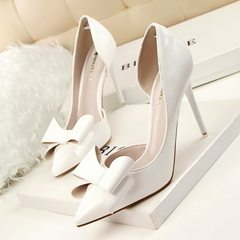 638-3 Korean version of sweet high heels with thin heels and high heels, sexy hollowed-out patent le white 34
