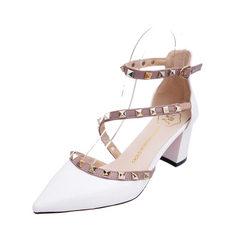春夏秋欧美新款尖头高跟鞋粗跟凉鞋铆钉一字扣女鞋中空单鞋代发 白色 34