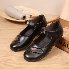 2018 spring and autumn new women`s single shoe flat heel leisure shoes soft bottom mother`s shoes ro black 36
