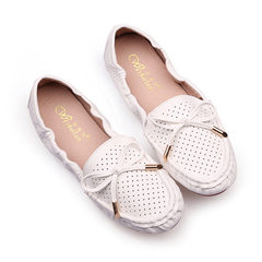New products simple fashion round - end bowknot egg roll shoes comfortable and breathable tie flat c white 35