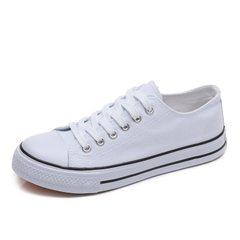 秋季韩版街拍小白鞋女2018新款百搭学生帆布鞋低帮板鞋休闲白鞋女 白色 35