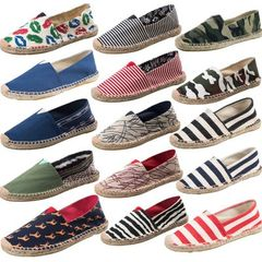 Lovers canvas shoes straw woven shoes men`s and women`s shoes flat tide leisure fishermen`s shoes he Hemp lip prints 39