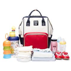 妈咪包多功能大容量妈咪包双肩妈妈包外出背包时尚母婴包一件代发 红色