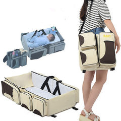 Foldable baby bed bag portable mother and baby bag multi-function mother bag portable travel bed brown