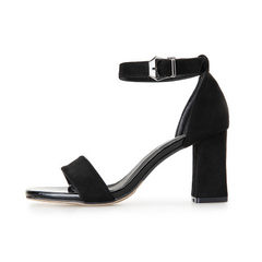 Spring and summer 2018 new one-character buckle sandals for women with high heels and thick heels Black (heel height 7.5 cm) 34