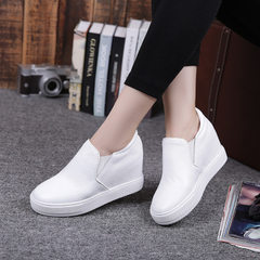 2018 spring new leather breathable single shoes travel white shoes a foot in the loafers leisure ins white 35