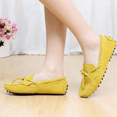 New legume shoes inside and outside the real leather women spring light mouth single shoes leisure w yellow 35