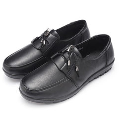 New style women`s shoes genuine leather flat large size women`s single shoes daily leisure middle-ag 6151 black 35