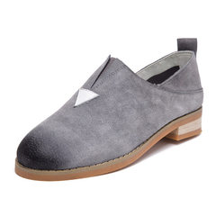 Spring and autumn new style real leather women`s shoes flat color wipe leisure shoes a foot pedal la Grey (pig bagger) 35