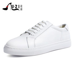 2018 genuine leather and white shoes women`s single shoe department with Korean summer students brea white 35