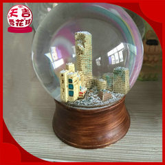 Direct selling supply of simple modern building round water ball acrylic water ball music box 80 * 95 mm