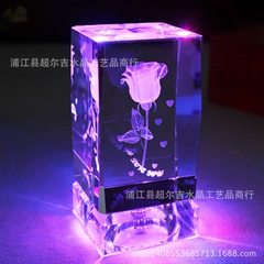 Wholesale K9 crystal creative inside carved rose valentine`s day gift lovers souvenir with music box Manufacturer, can customize any size