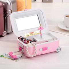 K0922 888 creative pull rod suitcase music box fashion revolving girl octave lovers jewelry box K0931 & amp; Ndash; B yellow