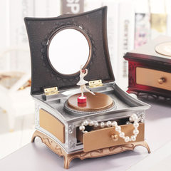K0822-3 698 classical dressing table rotating girl music box with cosmetic mirror drawer lovers octa K0822 gold gray