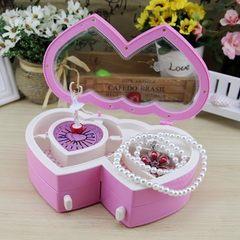 Double peach heart dancing girl music box creative cute music jewelry box octave girl gift YL2033 pink