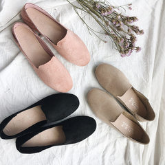 New style flat-bottomed women`s round toe single shoes in autumn 2017 black 35
