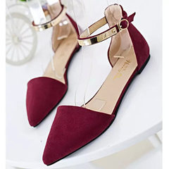 2017 autumn new Korean version of metal flat shoes with one-word buckle flat shoes women flat flat f red 35