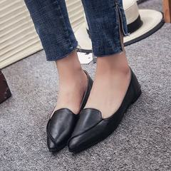 Spring and summer 2018 new style single shoes women take pointy flat flat shoes shallow-mouthed boat black 35
