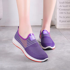 Factory direct sale spring and summer new leisure net shoes breathable women`s shoes Beijing cloth s purple 35