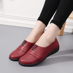 2018 spring and autumn new women`s shoes with soft soles for middle-aged and elderly mothers and sho red 36
