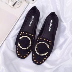 Spring 2018 new Korean version of flat flat flat shoes riveted women square head lap flannelette sin black 35