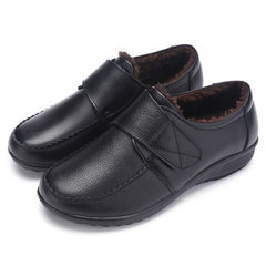 Autumn winter mom shoes genuine leather with fleece antifreeze warm ladies low-top shoes flat leisur 562 black 35