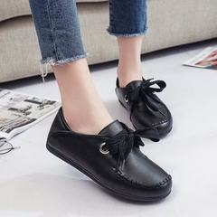 Spring 2018 new style mom shoes flat anti-skid with casual women`s shoes with shallow mouth and low  black 35
