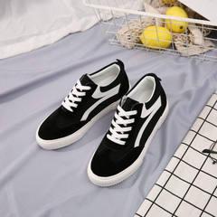 比迪比春款女鞋2018新款ins帆布鞋学生系带平底港版女鞋一件代发 黑色 35