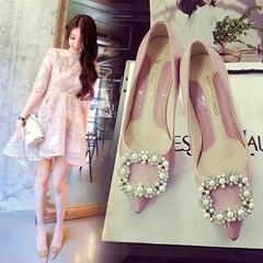 2017 spring and autumn new style single shoe women`s stiletto heels shallow-tip low-top women`s shoe pink 35