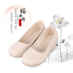 Factory direct sale old Beijing cloth shoes women flax pure white shoes slope heel cloth shoes new m white 34