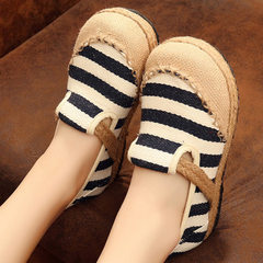 2018 new Beijing cloth shoes in the spring light mouth round head a pair of slouchy shoes striped et yellow 35