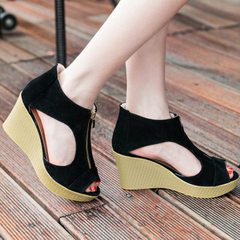 Summer 2018 new high-heeled wedges cool before American and European fashion thick zipper bottom lig black 35