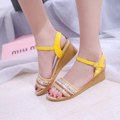 Sandal women`s summer 2018 new Korean version of wholly-heeled platform shoes flat platform platform yellow 35