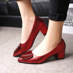 Spring and autumn 2018 new high-pointed square button heels with shallow heels and single season sho red 34