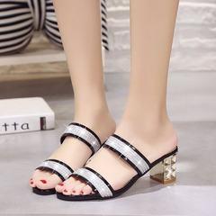 2018 summer new style sandals women`s shoes Korean version of pure color heels anti-skid wear-resist black 35