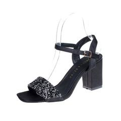 2018 Korean version of women`s sandal hollow leisure fashion one-word button fish mouth shoes sequin black 35