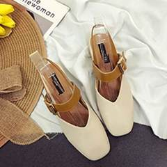 New style of Korean cross-strap sandals in spring 2018 with square toe and single toe shoes, middle  Beige [buckle band] 35