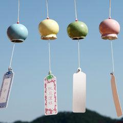 日式和风手工彩绘陶瓷风铃挂饰创意家居饰品毕业礼物送同学朋友 红黄蓝-开口