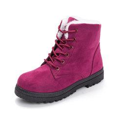 跨境专供马丁靴女情侣加绒短筒系带防滑平底雪地靴保暖棉靴男棉鞋 红色 35