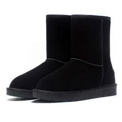 厂家批发新款真皮羊毛雪地靴女短筒保暖鞋防滑男女棉鞋中筒靴代发 黑色 35