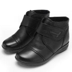 新款女式棉鞋保暖真皮软底防滑中老年妈妈棉鞋冬季短靴女厂家批发 6655黑色 35