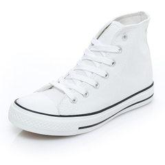 申马2018新款平底高帮帆布鞋女韩版经典款三次硫化批发夏季学生鞋 白色 35