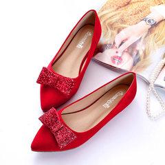 一件代发2018春新款婚鞋平底小红鞋韩版蝴蝶结单鞋大码女鞋40-43 红色 34