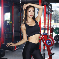 Manufacturer`s direct selling sports bra, Korean version no steel hoop yoga underwear fitness runnin black s.