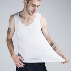 Mordel vest men`s summer hit bottom high - elastic solid color sports vest slim body breathable manu white m